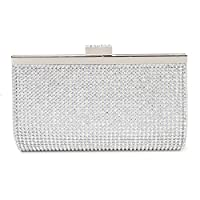 Women Pu Handbag Messenger Bag Clutch Evening Bag Wallet for Party Work Business with Rhinestones (Silver)