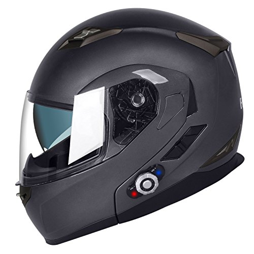 - FreedConn Bluetooth Motorcycle Helmets Speakers Integrated Modular Flip up Dual Visors Full Face Built-in Bluetooth Mp3 Intercom headset Communication Range 501M (L,Gray)