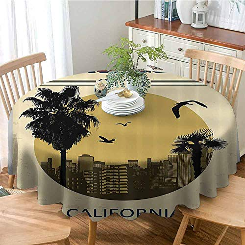 Elxmzwlob Round Tablecloth for Kids/Childrens Los Angeles City from California in Vintage Style Birds Vacation Journey Design for Wedding/Banquet/Restaurant Ivory Olive Red 51