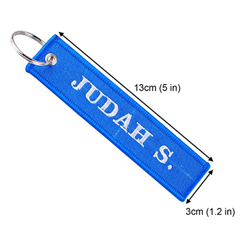 Personalized Embroidered Key Tags Custom Keychain Linen Woven Luggage Tag (blue)