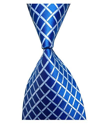 Wehug Men's Classic Tie Silk Woven Blue Plaid Necktie Jacquard Neck Ties For Men -