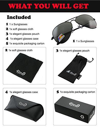 Protección de Hombre gafas sol el Black polarizado de Aviador caso 4sold con 400 UV conducción Black SUOqYxO