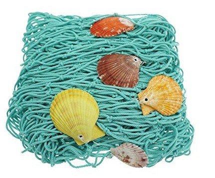 hgmart Decorative Fish Net,地中海スタイルFishing Net壁装飾with Seashells、Nautical装飾寮寝室パーティー(グリーン)   B07BPQSFC2
