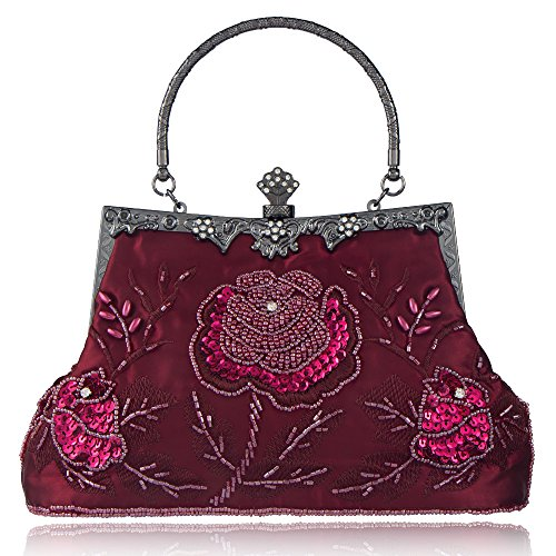 Style Red Roses Handbag Wedding Purse And Clutch Sequined Vintage Party Evening Women's Bag Jujube Beaded Bagood SqxtEfwZ