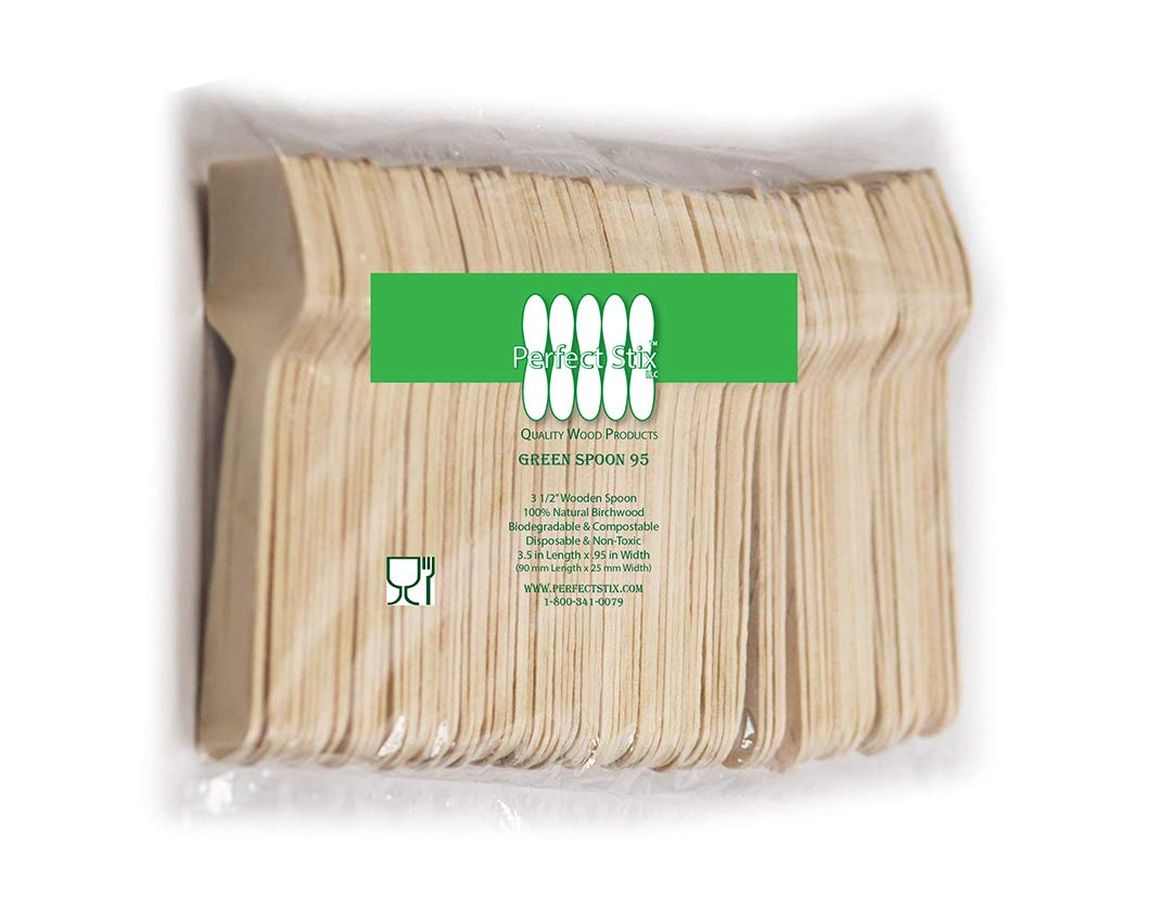 """Perfect Stix Green Spoon 95- Wooden Square Compostable Cutlery Taster Spoon with Concave, 3-1/2"""" Length, 100ct"""