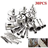 TOPAUP Diamond Drill Bits Set 16 PCS Tile Hole Cutter 6-50mm with 14pcs 6mm Hole Opener Holesaw Kit for Kitchen Bathroom Shower Faucet Wet Drilling Tool Ceramic Porcelain Tiles Glass Marble Granite