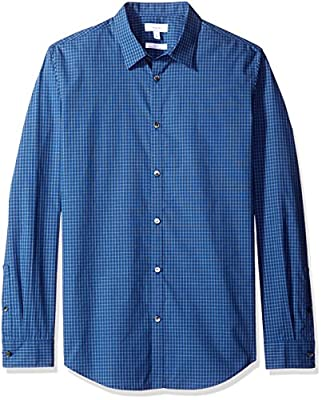 Calvin Klein Men's Slim Fit Long Sleeve Infinite Cool Button Down Shirt with Small Check