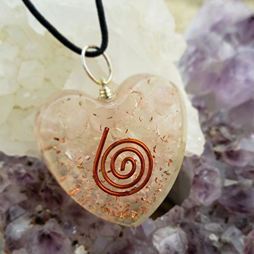ORGONE Heart Shape Pendant Rose Quartz Love Stone Heart Chakra Cleansing ORGONITE