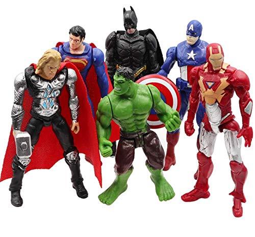 Marvel DC Super Heroes Batman Superman Hulk Action Figures Toys Cake Topper 6pcs