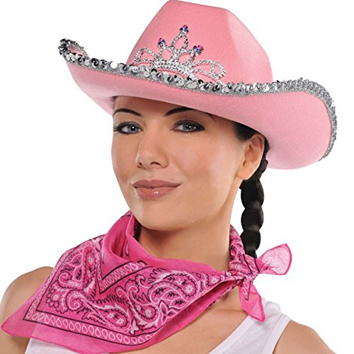 High Riding Costume Party Cowboy Bandana, Pink, Polyester, 20