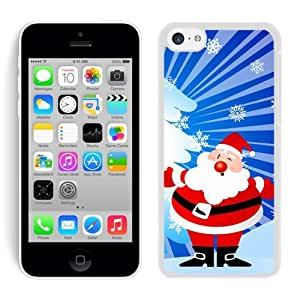 Iphone 5C Case,Snowflake Christmas Wink Santa Grandpa White Cover Case Fit Iphone 5C,Apple Iphone 5C Protective Case