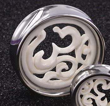 Doubled Flared Gauges with Ohm Bone Inlay Elementals Organics Stainless Steel Ear Plug