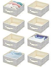 mDesign Juego de 8 Cajas organizadoras de Tela – Compacto Organizador de armarios con asa y Parte Superior Abierta – Caja de Tela para Ropa, Mantas, Accesorios y más – Crudo y Azul