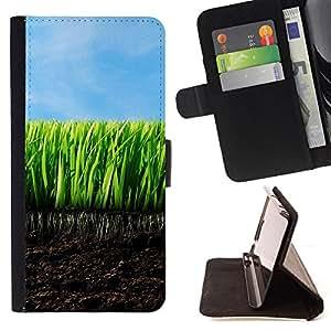 BullDog Case - FOR/Sony Xperia Z1 L39 / - / Young Grass /- Monedero de cuero de la PU Llevar cubierta de la caja con el ID Credit Card Slots Flip funda de cuer