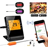 remote bbq thermometer iphone - Meat Thermometer,Basecamp Wireless BBQ Thermometer,Bluetooth Smartphone Meat Thermometer with 2 Stainless Steel Probes Remote Monitor for Grilling, Cooking Kitchen Oven, for IOS & Android
