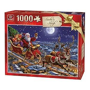 King 5768 Puzzle Natalizio Con Slitta Di Babbo Natale 1000 Pezzi A Colori 68 X 49 Cm
