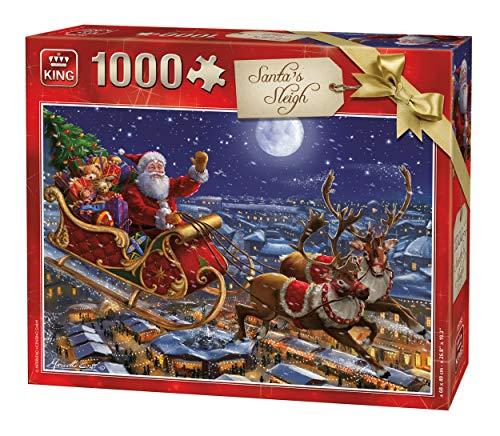 Foto Slitta Di Babbo Natale.King Puzzle 1000 Pezzi Natalizio Con Slitta Di Babbo Natale