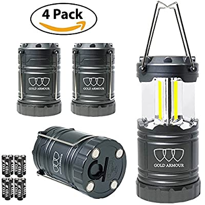 Brightest LED Lantern - Camping Lantern (EMITS 350 LUMENS!) - 4Pack Camping Gear Camp Equipment Camp Light for Camping, Emergencies, Great Fathers Day Gift