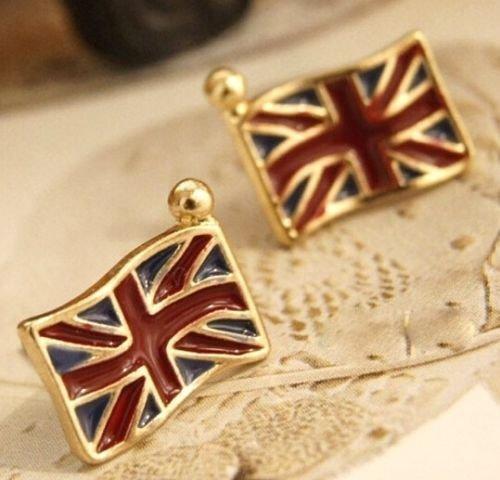(1set Retro Vintage UK Flag Drop Oil Stud Earring Jewelry Women Girl Gift)