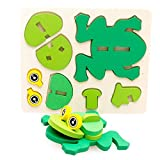 GreatFun Montessori Mini 3D Puzzle Toy Kids Educational Fun Toy Wooden Colorful Jigsaw Gift (Frog)