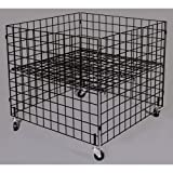 Retail Black Dump bin 36''x36''x30''high grid panels with casters