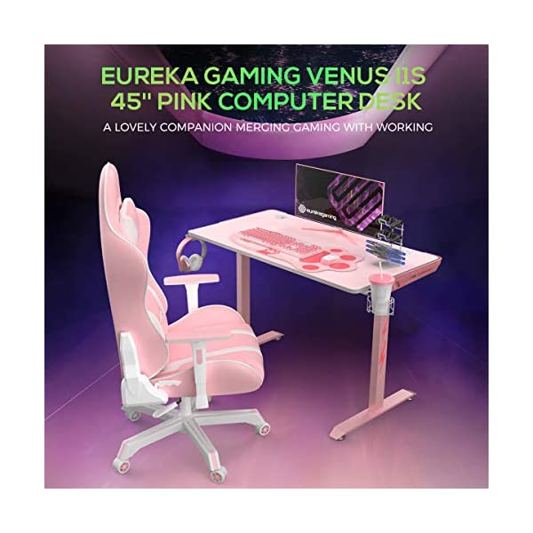 Eureka Ergonomic I1 S Pink Gaming Desk 433 Small Home Office Pc Gaming Computer Desk T Shaped Writing Study Tables Popular Gift For Girlfriend Female E Sports Lover