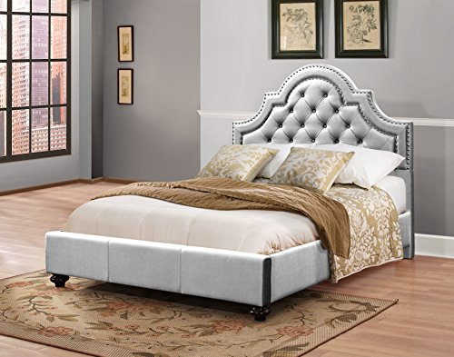 Furniture World Frida Velvet Upholstered Bed with Tufted Headboard and Nail Head Accents, Queen, Silver Velvet (King Single Upholstered Bed Head)