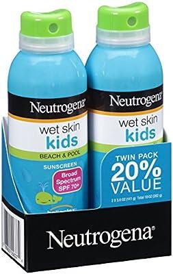 Neutrogena Wet Skin Kids Sunscreen Spray, Water-Resistant and Oil-Free, Broad Spectrum SPF 70+, 5 oz,  2 Pack