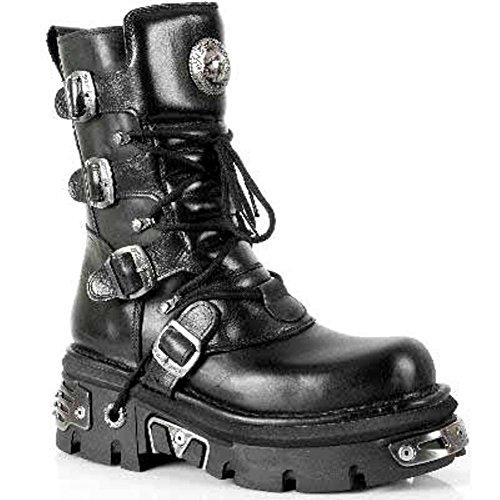 NEWROCK New Rock 373 S4 Boots Black Metallic Leather Biker Goth Emo Moda