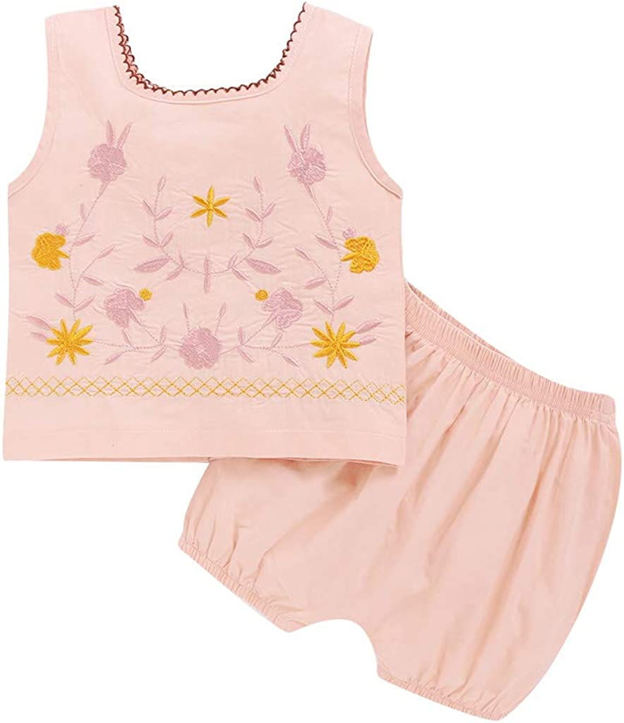 Infant Girls Sleeveless Vest+Shorts Sets 6M-4T Newborn Baby Floral Tank Tops Solid Pants 2Pcs Summer Outfits Clothes