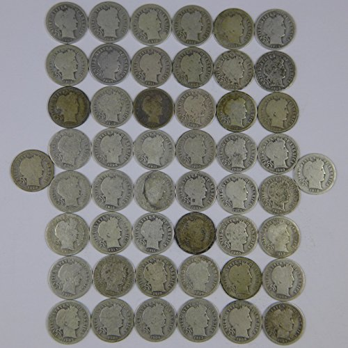 1892-1916 Barber Dimes Various Mint Marks Random Dates 90% Silver - 50 Coin Roll Avg Circ (Barber Dime Roll)