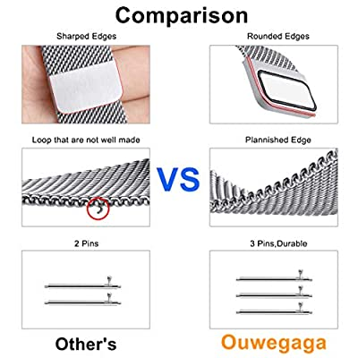 Ouwegaga for Fitbit Versa Bands Milanese Stainless Steel Wristbands for Women Men Large Small