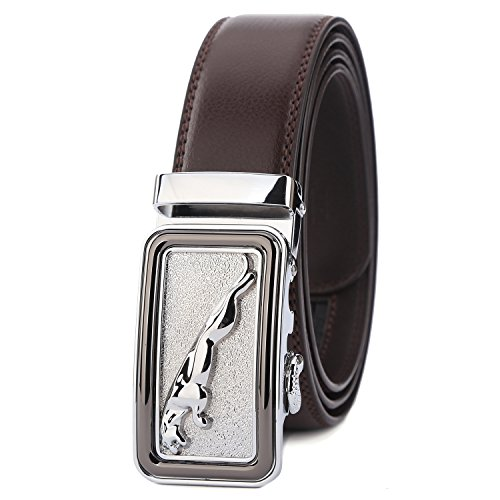ITIEZY Men's Leather Belt Ratchet Automatic Buckle (Sliding Buckle) Belt Man Designer Black Luxury - Designer Leather Brown Belt