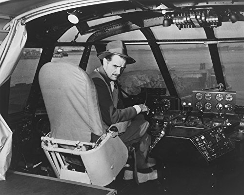 Howard Hughes in Spruce Goose Wooden Plane - Vintage Photograph (9x12 Art Print, Wall Decor Travel Poster)