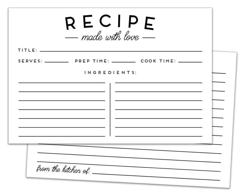 Set of 50 Premium Recipe Cards - 4x6 Double Sided - Black and White Modern Style by Elegant Signs