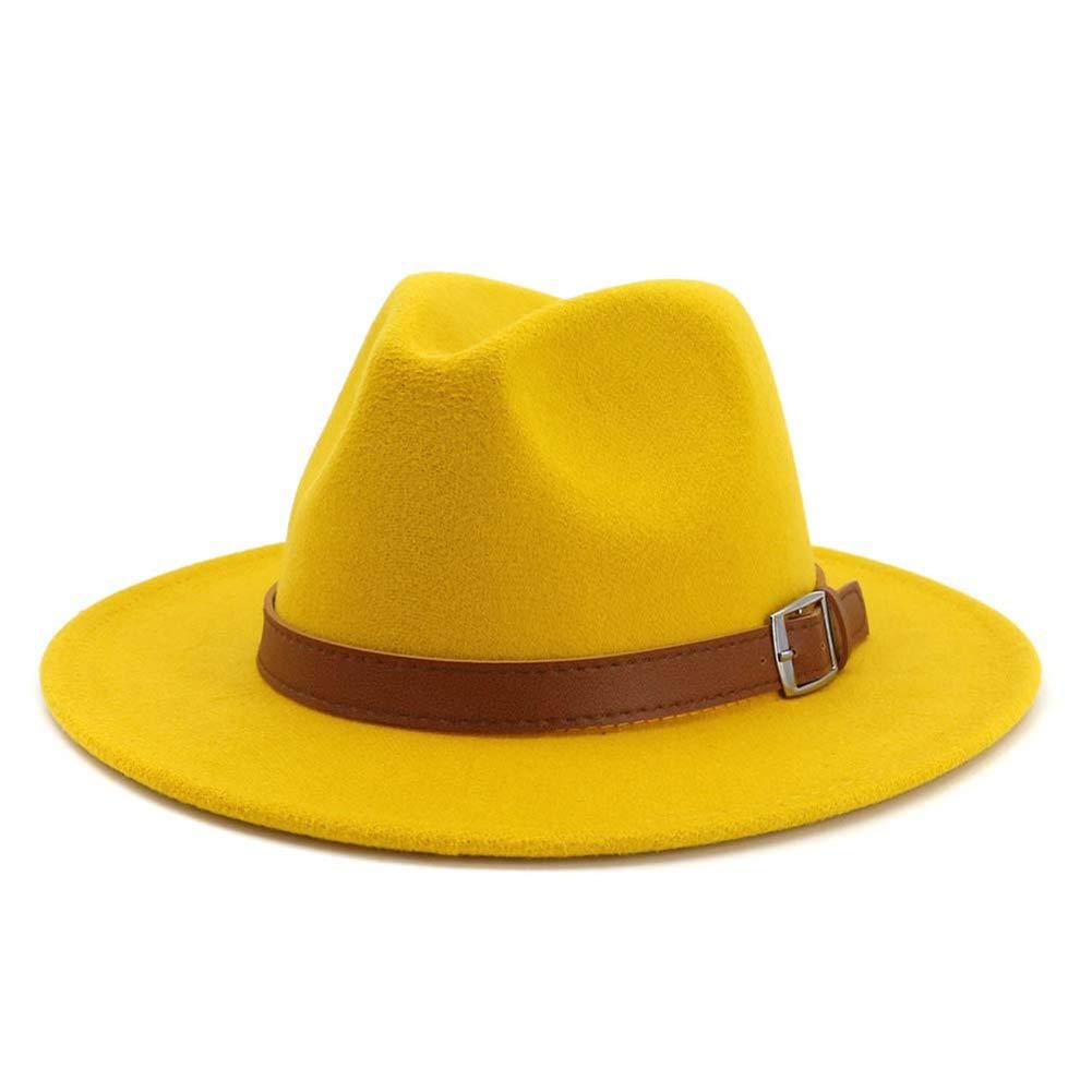 Classic Men & Women Wide Brim Fedora Panama Hat with Belt Buckle-Yellow