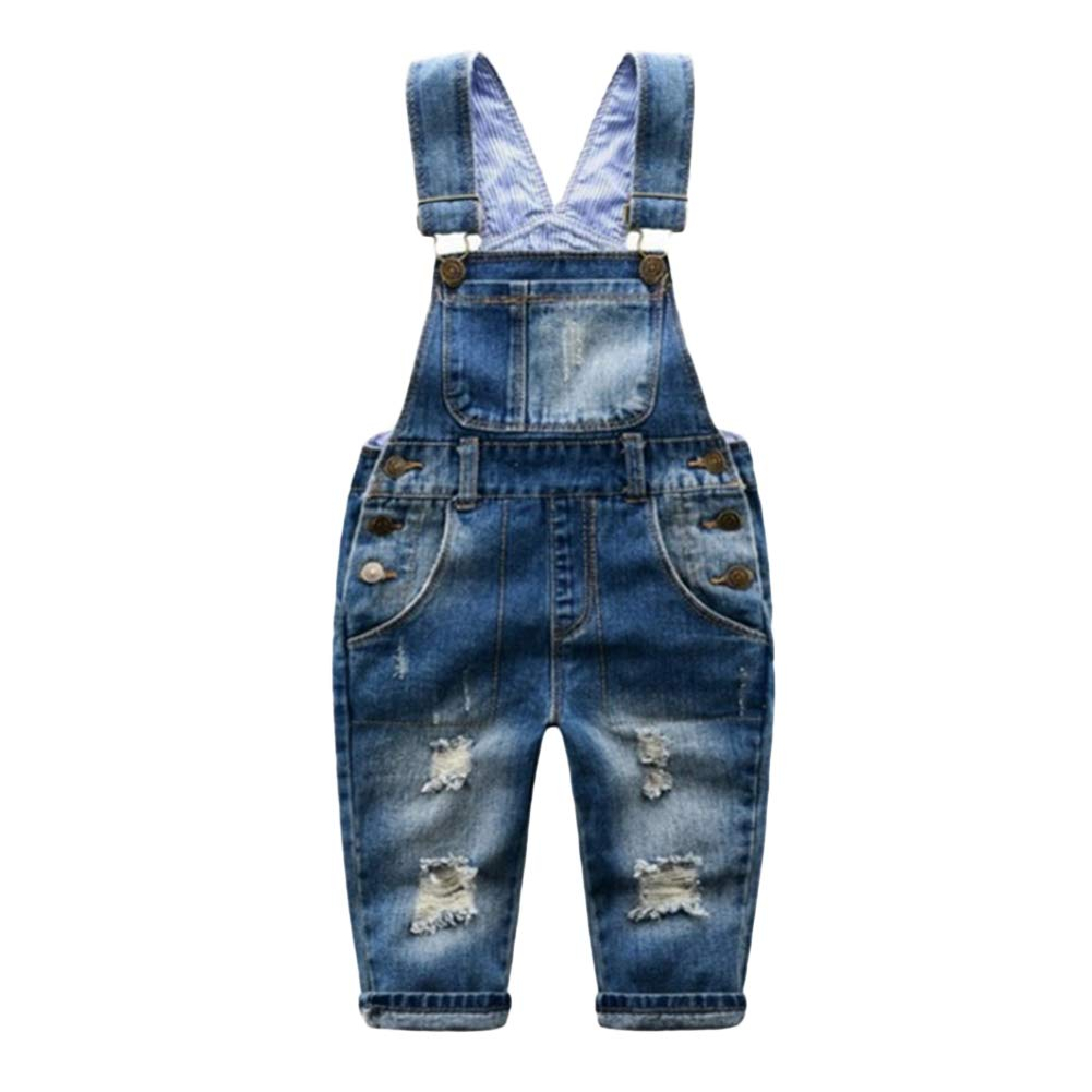 00a247e6559 Amazon.com: Tianzek Baby Little Boy Girl Ripped Distressed Denim Bib  Overall Jeans Pants: Clothing