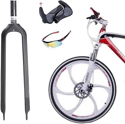 QQKJ Horquilla de Fibra de Carbono MTB Bicicleta Horquilla Delantera rígida, Montaje de Freno de Disco de Carretera de montaña Horquilla 26/27.5/29 ER: Amazon.es: Deportes y aire libre