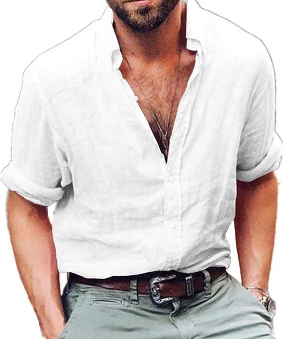 Chickwin Casual Camisa para Hombre, Camisas de Lino Slim Fit Camisas Playa Hombres Manga Corta Casual Transpirable Top Blusas de Trabajo