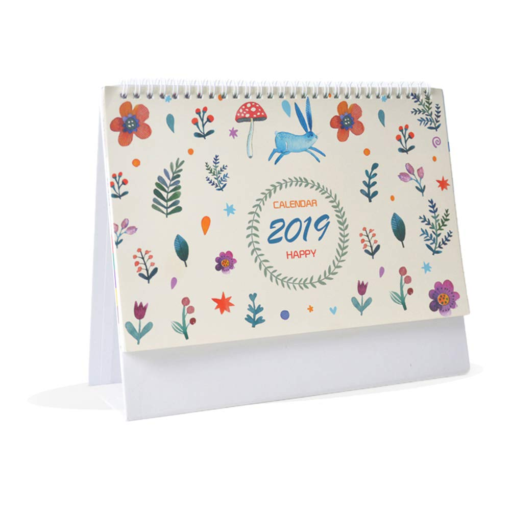 Whthteey Flower Stand Monthly Desk Calendar Twin-Wire Binding from August 2018 Through 2019 December for Office Home School (Plant)