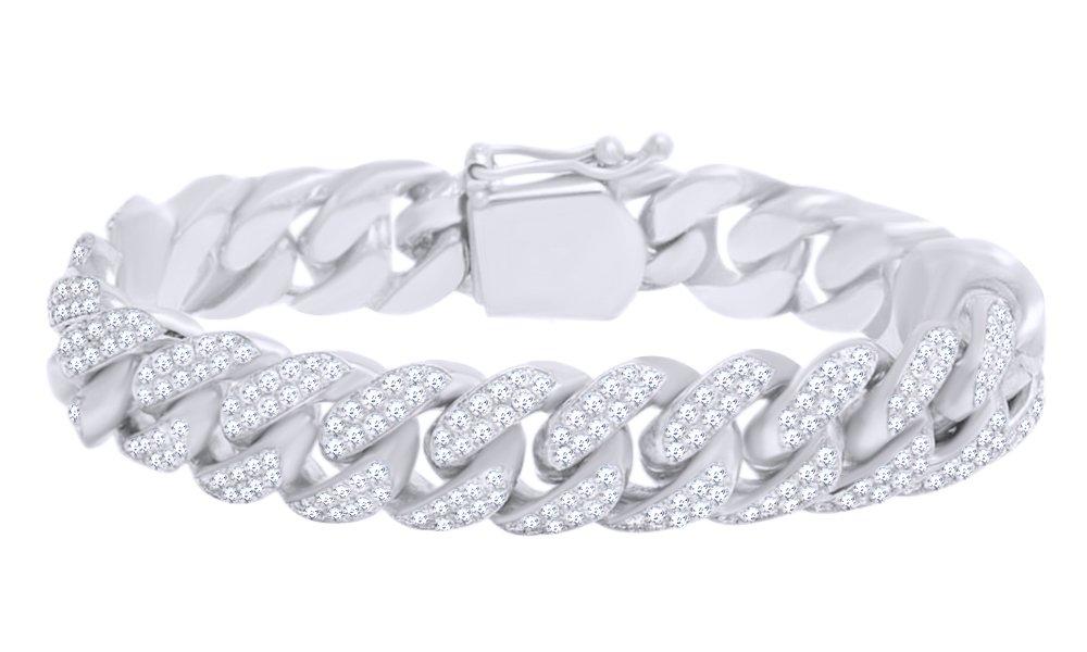 Round Shape White Natural Diamond Miami Cuban Chain Bracelet In 10k White Gold (9.50 cttw) - 7.5''