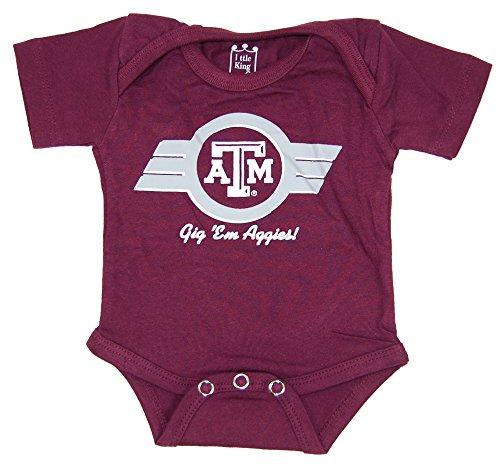 Little King NCAA Texas A&M Aggies Diaper Shirt Romper, 6M, Maroon