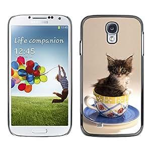 Be Good Phone Accessory // Dura Cáscara cubierta Protectora Caso Carcasa Funda de Protección para Samsung Galaxy S4 I9500 // Cute Cat Kitten In A Cup