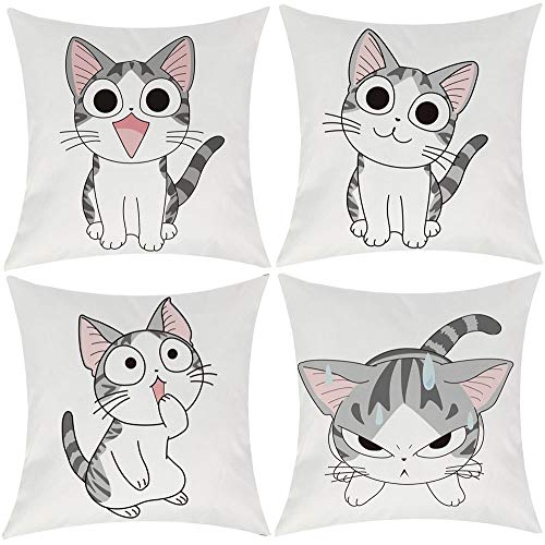 EZVING Cartoon Cat Pattern Linen Cotton Throw Pillow Case Home Decorative Pillowcase Cushion Cover for Sofa Bed,18