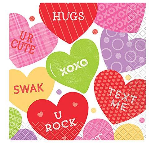 Candy Valentine's Day Beverage Napkins, 16ct