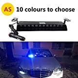 12V Car Truck Emergency Strobe Flash Light Sucker Dashboard Interior Windshield Warning Light Bar Current (12LED, Blue)
