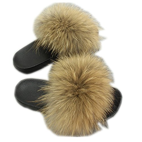 MH Bailment Women Real Fox Fur Feather Vegan Leather Open Toe Single Strap Slip On Sandals (9, Raccoon Color)