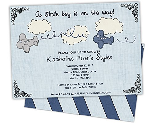 Amazon Com Airplane Baby Shower Invitations Blue Boy Shower Invite