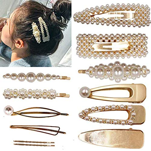 Wffo Pearls Hair Clips for Women Girls♚12 Pcs Large Bows/Clips♚ Ties for Birthday Valentines Day Gifts Bling Hairpins Headwear Barrette Styling Tools Accessories