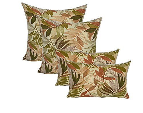 Set of 4 In / Outdoor Pillows - 2 Square Throw Pillows & 2 Rectangle / Lumbar Decorative Throw Pillows - White, Tan, Brown, Green, Tropical Palm Leaf - Choose - Brown Leaf Palm